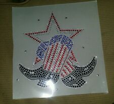 Rhinestone Red, White, & Blue Boots with Stars Iron On Transfer Bling Applique