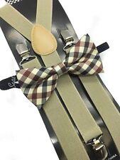 Maroon Plaid Bow Tie & Beige Suspender Matching Set Tuxedo Wedding Accessories