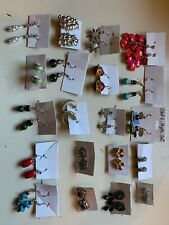 Lot Of 20 Pairs Of Women's Earings Vintage Mix Colors H47