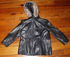Worthington Womens Black Lambskin Coat w/Hood & Fur Trim Size L