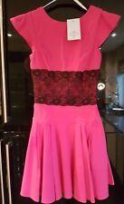 New DIVA CATWALK Hot  Pink Stretch  Black Lace Waist Pleated Dress Size M Uk8