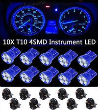 10X Blue T10 168 4SMD LED Light Gauge Instrument Cluster Speedometer Dash Socket