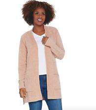 Denim & Co. Petite Chenille Long- Sleeve Open- Front Cardigan - X-Large - Beige