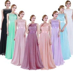 Women Chiffon Bridesmaid Dress Long Evening Gown Formal Wedding Party Dress