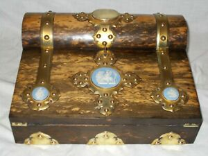 ANTIQUE VICTORIAN COROMANDEL c1860 GOTHIC BRASS MOUNTED WRITING SLOPE BOX