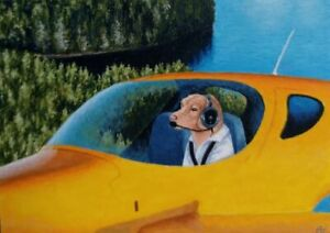 ACEO Art Card * Original Oil Painting  * Dog, Airplane
