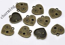 5pz charms cuore fiore  bronzo 18x17mm ciondolo