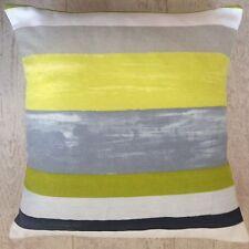 "New Designer Striped Stripy Lime Grey Black & White Scatter Cushion Covers 16"""