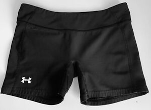 Under Armour Women's S HeatGear Black Nylon Fitted Athletic running shorts Small