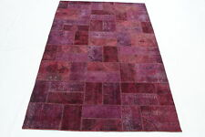 Patchwork Orient Tapis Vintage chic 310x200 rouge rose moderne Used Look 1866