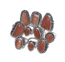 Exclusive !! Lot 10 PCs. Sunstone Goldstone 925 Sterling Silver Plated Ring