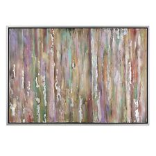 Modern Large Abstract Wall Art Silver Frame | Colorful Painting Purple Green