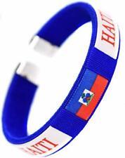 TOURISTIQUE SOUVENIRS Drapeau Motif Haïti en cuir tressé bracelet la république de Hait
