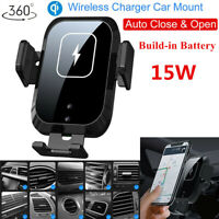Wireless Car Charger Qi Fast Charging Auto-Clamping Air Vent/Suction Phone Mount