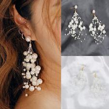 Damen Schmuck Lange Pearl Ohrstecker Ohrringe Perlenohrringe Perlweiß Ohrhänger