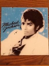 Michael Jackson Carnival Fair Prize Glass Thriller Cover Blue 12 X 12 1980S