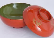 Japanese Lacquer Ware Wood Soup Bowl with Lid Red Green Pine Bamboo Plum Vintage