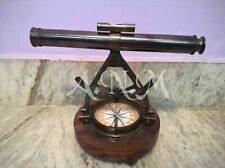 ALIDADE TELESCOPE ANTIQUE WITH COMPASS NAUTICAL BRASS COLLECTIBLE