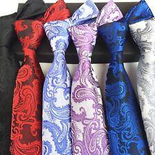 8.5cm New Classic Paisley Silver Gray JACQUARD WOVEN Silk Suit Men's Tie Necktie