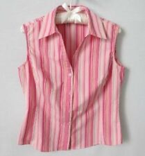 St Johns Bay pink striped sleeveless cotton blend button front blouse *Sz M*