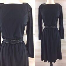 Vintage 70s boatneck metallic belted black gold long sleeve dress LBD M