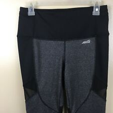 Avia Athletic Leggings Workout Mesh Sides Ankle Length Size Small Gray Black