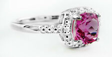 PINK SAPPHIRE 1.17 Cts & GENUINE DIAMONDS RING .925 Silver  * NEW WITH TAG