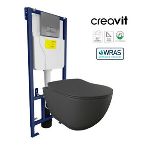 Creavit Matt Anthracite Short Projection Wall Hung Pan Concealed Cistern Frame