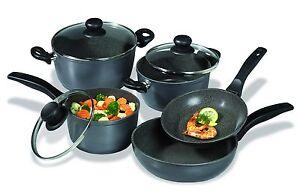 Stoneline Cookware Black Set 8 Pieces Aluminum Stewing Pan/ Fry Pan /Cooking Pot