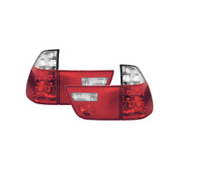 Red & Crystal Clear Rear Tail Lights - 1 Pair to fit BMW X5 Mk1 E53 99-06