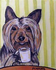 australian silky terrier dog art coffee print animals impressionism 13x19