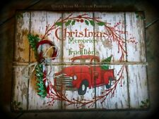 Primitive Christmas Memories Red Pickup Truck Book Memory Journal Cupboard Tuck
