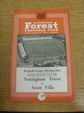 10/12/1960 Nottingham Forest v Aston Villa  (folded, pin hole, worn spine). Cond
