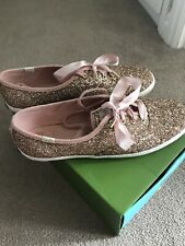 Kate Spade Glitter Ked Shoes Pumps Rose gold Rare 6