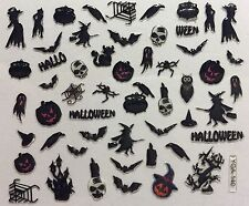 Nail Art 3D Decal Stickers Halloween Witch Cauldren Spider Owl Bat Crow YGA140