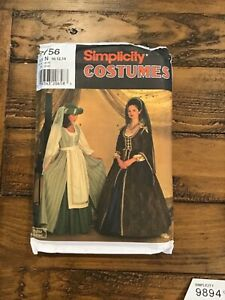 New SIMPLICITY COSTUME PATTERN 7756 THEATER REENACTMENT Medieval DRESS ~WM 10-14