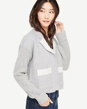 NWT ANN TAYLOR Grey Boiled Wool Knit Sleeves Sweater Jacket Size M