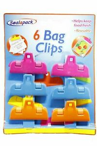 Food Bag Clips Storage Fresh Fridge Kitchen Crisps Reusable Hanging Hole Pack 6x