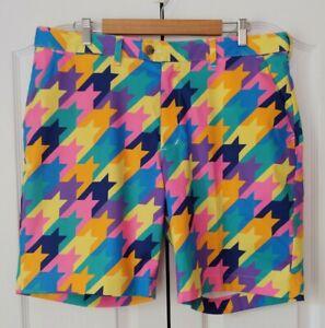 "LOUDMOUTH Men's Golf Shorts Geometric Print, SIZE 37, 9"" Inseam"