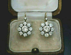 Antique Vintage Art Deco 2.50CT Round Diamond Halo Earrings 14K Yellow Gold Over