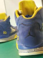 JORDANS 23 C13288-400 YOUTH BASKETBALL SHOES SIZE 1.5Y BLUE YELLOW GREY