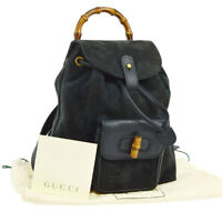 Authentic GUCCI Bamboo Backpack Hand Bag Navy Suede Leather Italy Vintage S07733