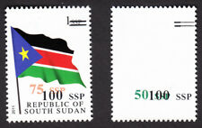 South Sudan 2017 Nh 4 Surcharge Trials on one 1 Ssp Flag - Free Usa Shipping