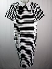 Tommy Hilfiger Black & White Striped Collared Short Sleeve Dress Size 18 LK953