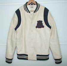 TOMMY HILFIGER 'Heritage' Light Cream Leather Varsity Style Jacket Size X-Large