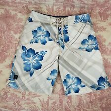 American Eagle Board Shorts Size 32 White Blue Floral Hawaiian Lined