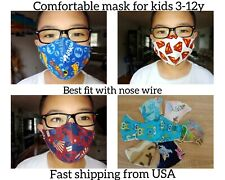 Handmade face masks washable with filter pocket and nose wire for kids