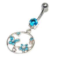 Piercing de nombril en argent massif 925 pendant papillon cristal bleu bijou