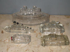 Vintage Glass Battle Ships & Tank Toys Candy Trinket Box Victory USA Maine