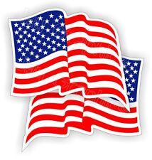 Waving American Flag Hard Hat Stickers   Flags Decals Helmet Motorcycle Merica